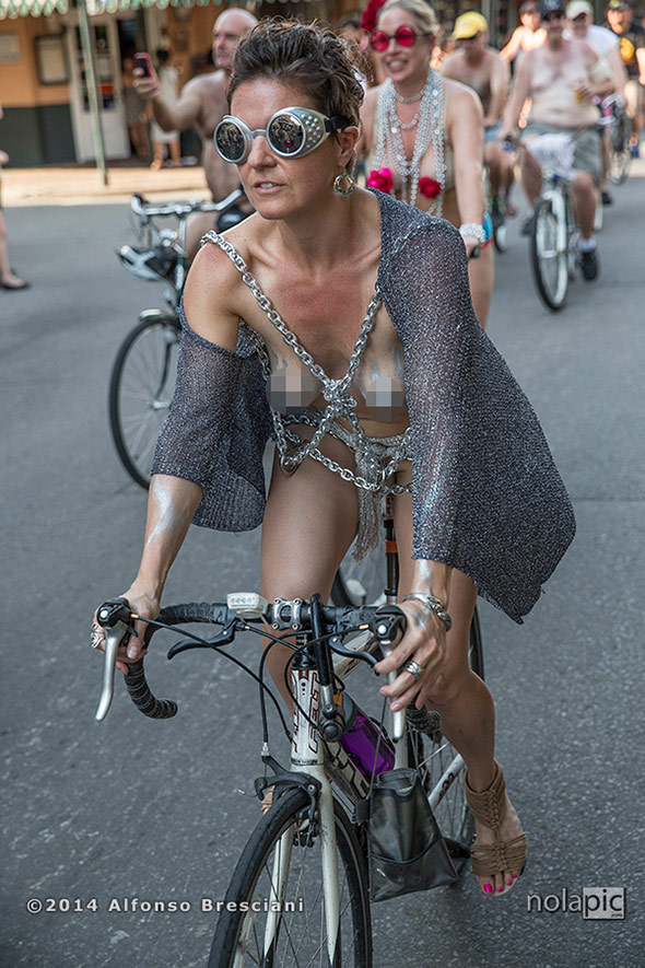 World Naked Bike Ride New Orleans 2014 (pixelated version). To license images for this event please contact ZUMAPress.com