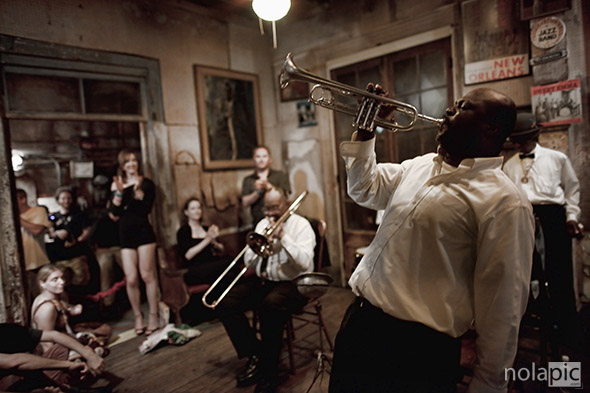 Kenneth Terry and Treme Brass Band at Preservation Hall photo print for sale