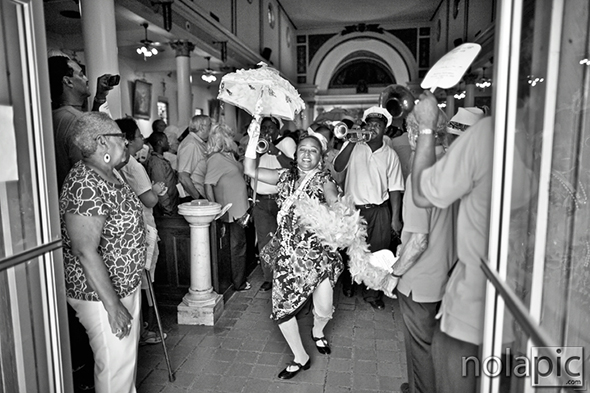 Jennifer Jones leading the Second Line at St. Augustine Church in Treme after the Jazz Mass
