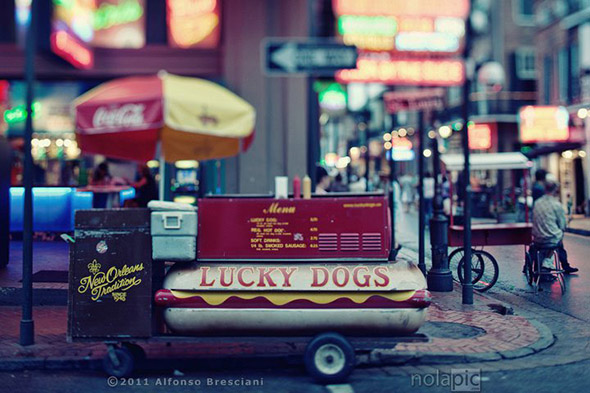 Photo print of lucky dogs cart on bourbon st