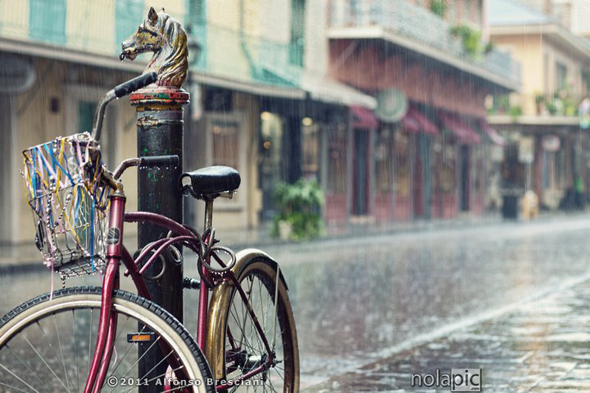 Print of  vintage bike on Royal st new orleans