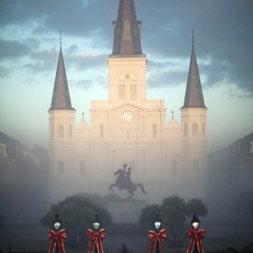 St Louis Cathedral in a gumbo of fog, sunshine and clouds…