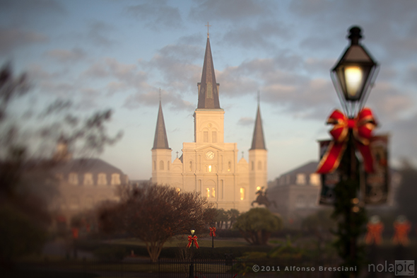 Foggy St Louis Cathedral prints for sale
