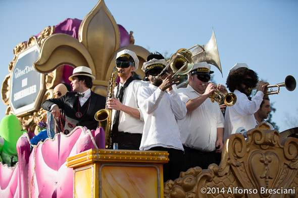 Ian Somerhalder with Lagniappe Brass Band on Endymion