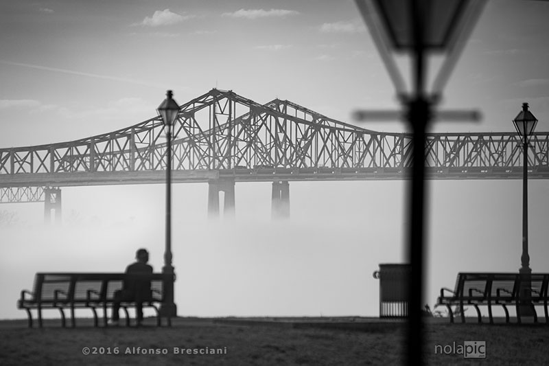 black and white photo of fog in new orleans
