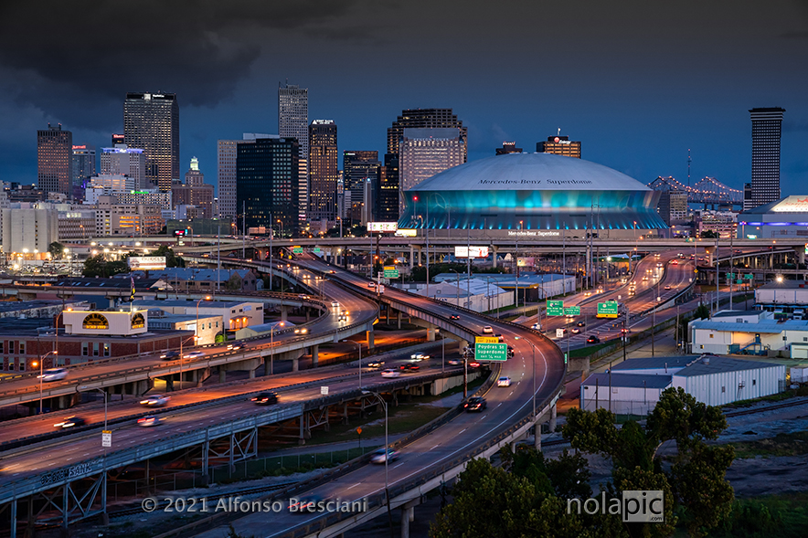New Orleans Skyline at Twilight with Superdome